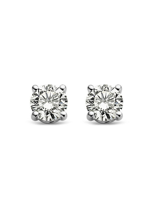 Diamond Point Groeibriljant stud earrings in 18 karat white gold, 0.32 ct.