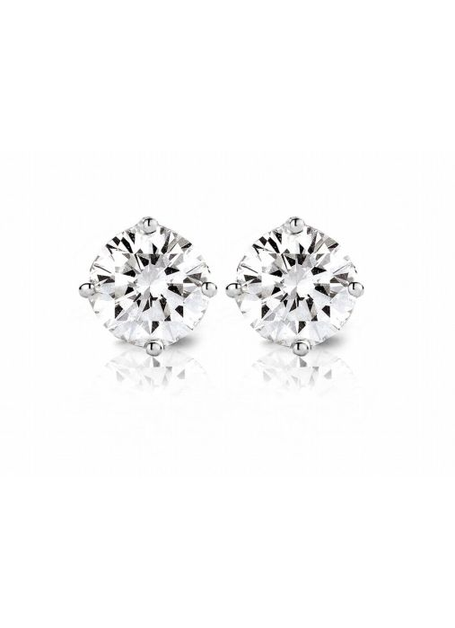 Diamond Point Groeibriljant stud earrings in 18 karat white gold, 0.50 ct.