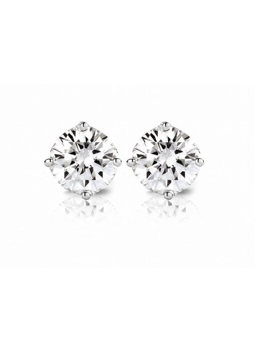 Diamond Point Groeibriljant stud earrings in 18 karat white gold, 0.60 ct.