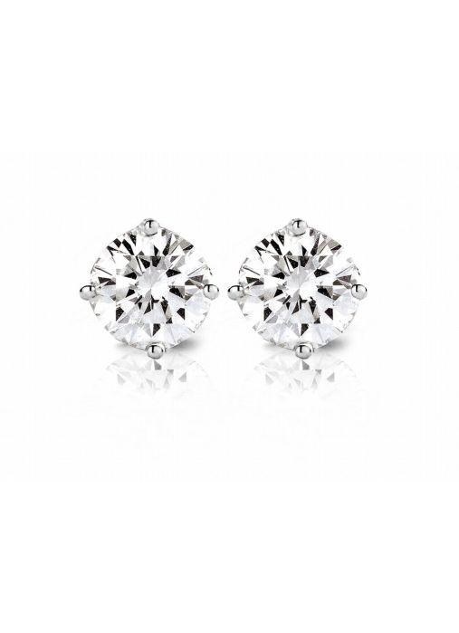 Diamond Point Groeibriljant stud earrings in 18 karat white gold, 0.62 ct.