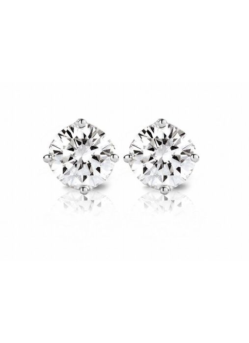 Diamond Point Groeibriljant stud earrings in 18 karat white gold, 0.80 ct.