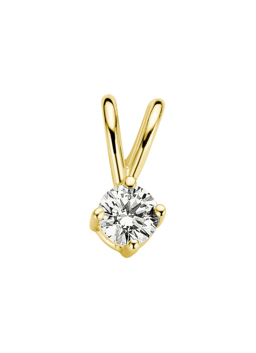 Diamond Point Geelgouden solitair hanger, 0.09 ct diamant, Groeibriljant
