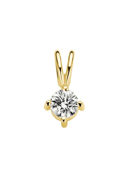 Diamond Point Geelgouden solitair hanger, 0.22 ct diamant, Groeibriljant