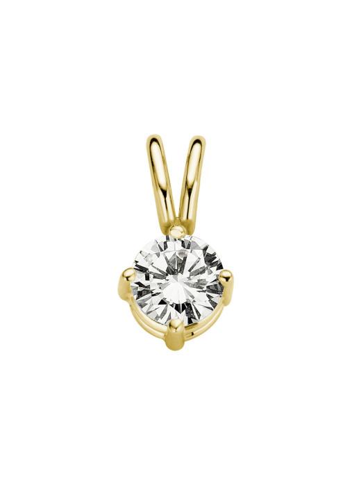 Diamond Point Groeibriljant stud pendant in 18 karat yellow gold, 0.23 ct.