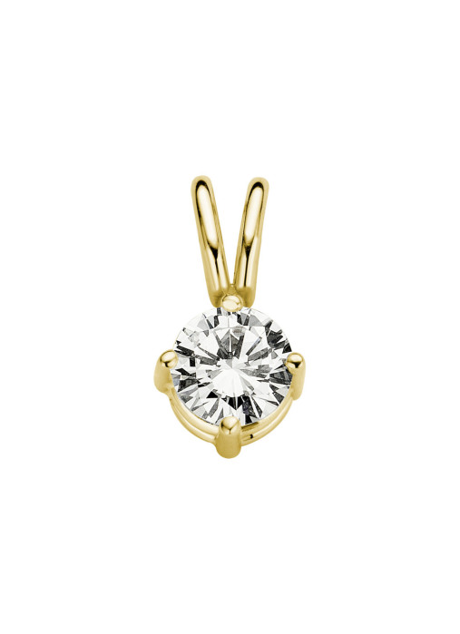 Diamond Point Geelgouden solitair hanger, 0.26 ct diamant, Groeibriljant