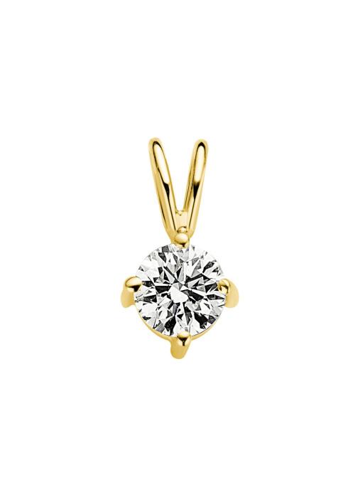 Diamond Point Groeibriljant stud pendant in 18 karat yellow gold, 0.41 ct.
