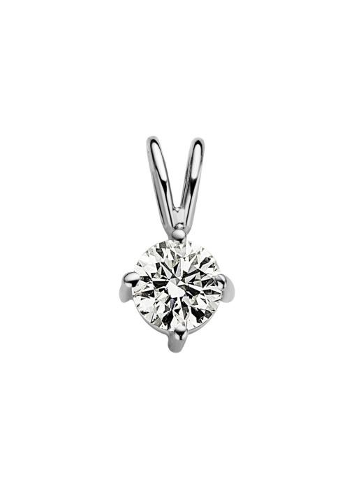 Diamond Point Witgouden solitair hanger, 0.41 ct diamant, Groeibriljant