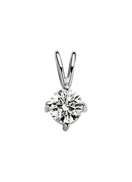 Diamond Point Witgouden solitair hanger, 0.45 ct diamant, Groeibriljant