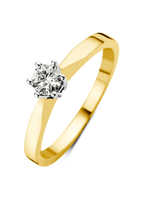 Diamond Point Groeibriljant stud ring in 18 karat yellow gold, 0.22 ct.