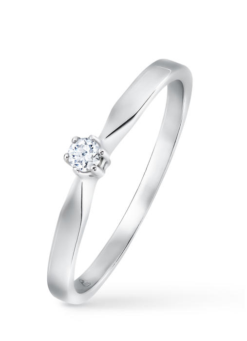 Diamond Point Groeibriljant stud ring in 18 karat white gold, 0.06 ct.