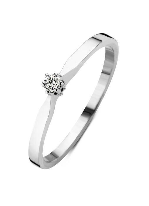 Diamond Point Witgouden solitair ring, 0.07 ct diamant, Groeibriljant