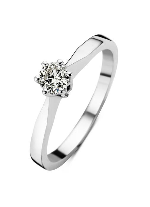 Diamond Point Groeibriljant Solitär Ring in 18K Weißgold, 0.22 ct.