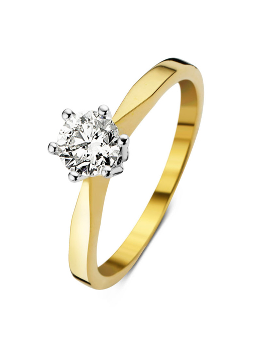 Diamond Point Groeibriljant stud ring in 18 karat yellow gold, 0.61 ct.