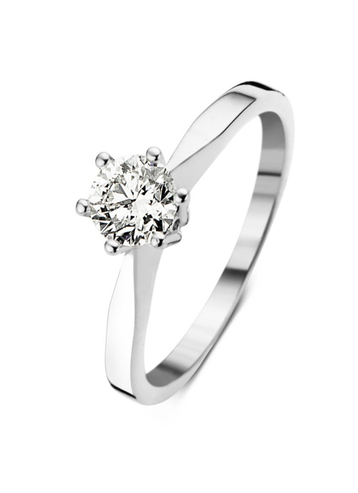 Diamond Point Groeibriljant stud ring in 18 karat white gold, 0.69 ct.