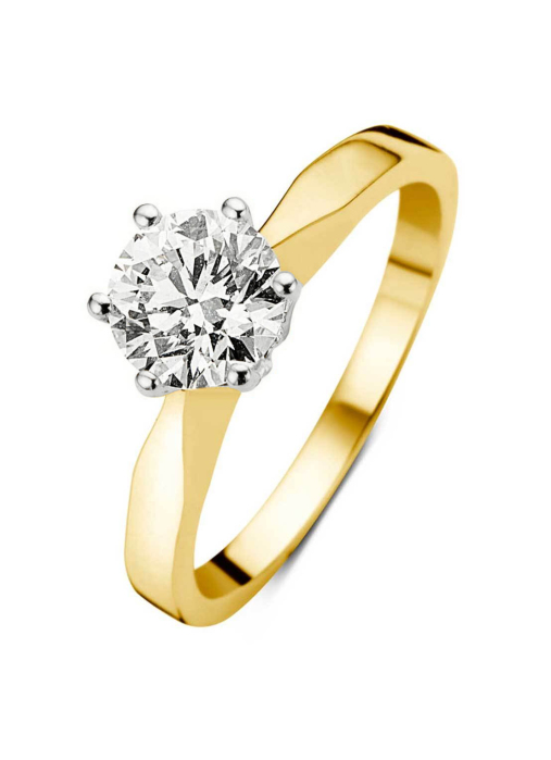 Diamond Point Groeibriljant stud ring in 18 karat yellow gold, 0.85 ct.