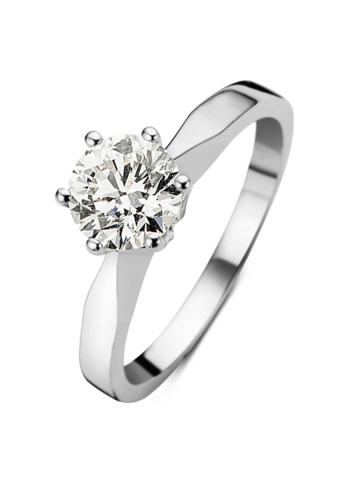 Diamond Point Groeibriljant stud ring in 18 karat white gold, 0.91 ct.