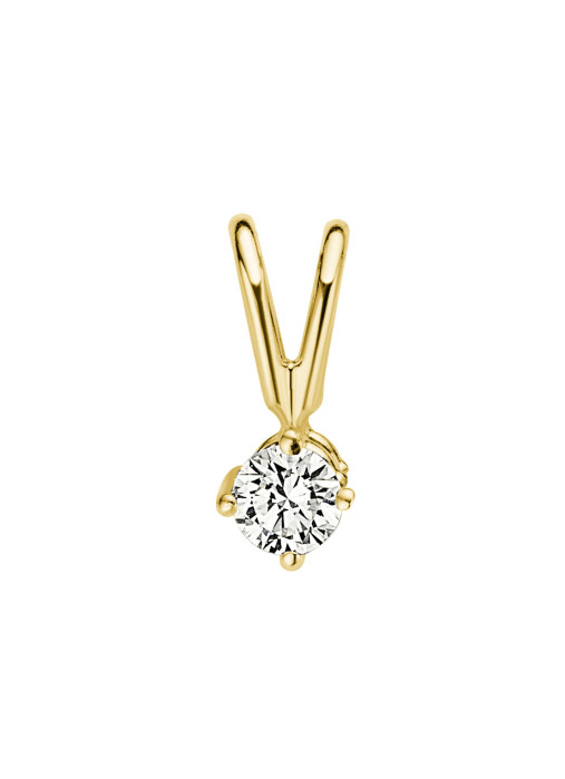 Diamond Point Groeibriljant stud pendant in 18 karat yellow gold, 0.08 ct.