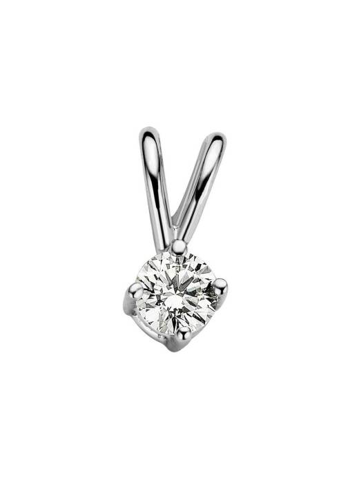 Diamond Point Witgouden solitair hanger, 0.09 ct diamant, Groeibriljant