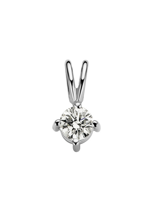 Diamond Point Witgouden solitair hanger, 0.17 ct diamant, Groeibriljant