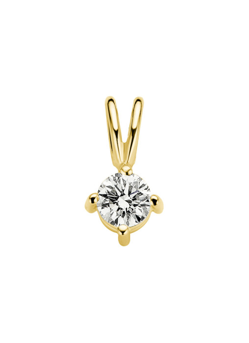 Diamond Point Groeibriljant stud pendant in 18 karat yellow gold, 0.21 ct.