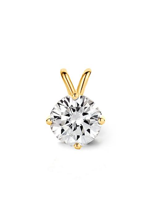 Diamond Point Geelgouden solitair hanger, 0.71 ct diamant, Groeibriljant
