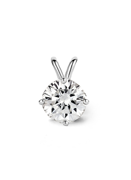 Diamond Point Witgouden solitair hanger, 0.73 ct diamant, Groeibriljant