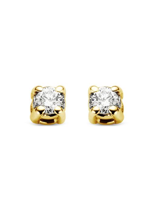 Diamond Point Groeibriljant stud earrings in 18 karat yellow gold, 0.04 ct.