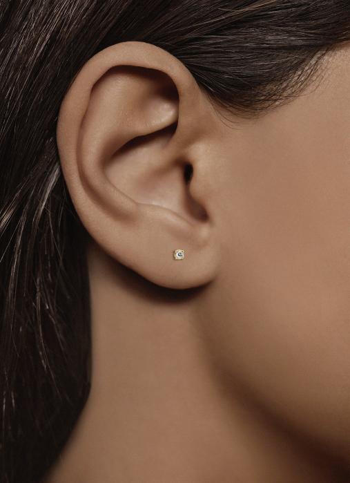 Diamond Point Geelgouden solitair oorstekers, 0.04 ct diamant, Groeibriljant