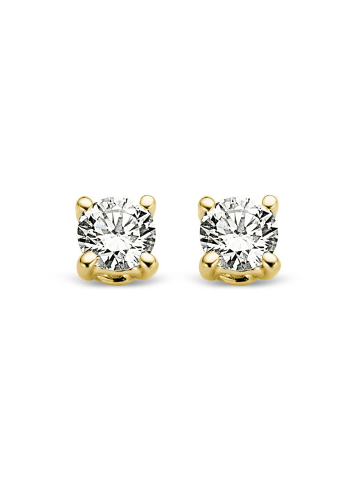 Diamond Point Groeibriljant stud earrings in 18 karat yellow gold, 0.06 ct.