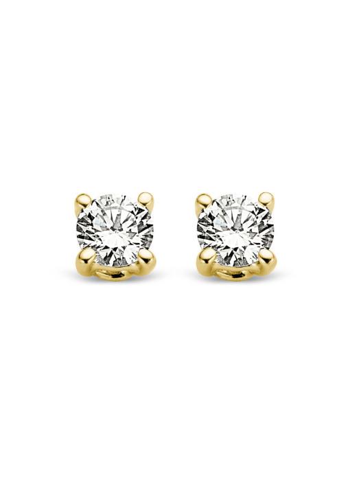 Diamond Point Geelgouden solitair oorstekers, 0.10 ct diamant, Groeibriljant