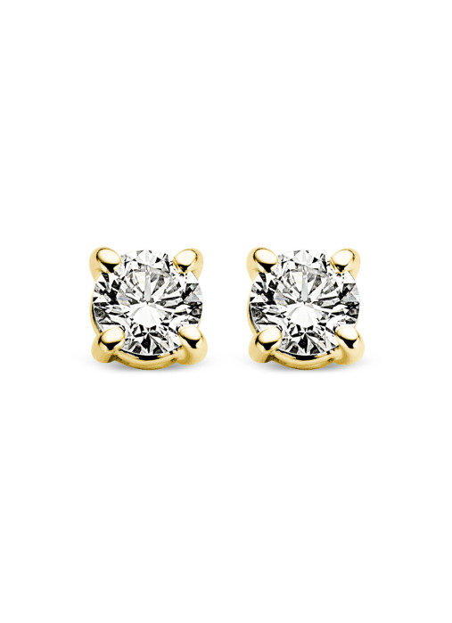 Diamond Point Groeibriljant stud earrings in 18 karat yellow gold, 0.12 ct.
