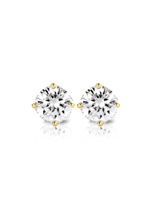 Diamond Point Geelgouden solitair oorstekers, 0.68 ct diamant, Groeibriljant