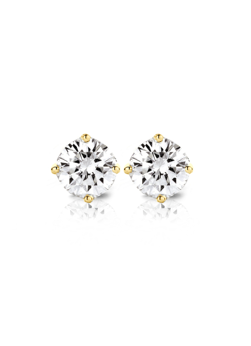 Diamond Point Groeibriljant stud earrings in 18 karat yellow gold, 1.00 ct.