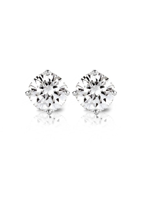 Diamond Point Groeibriljant stud earrings in 18 karat white gold, 0.42 ct.