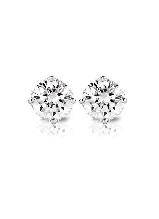 Diamond Point Groeibriljant stud earrings in 18 karat white gold, 0.88 ct.