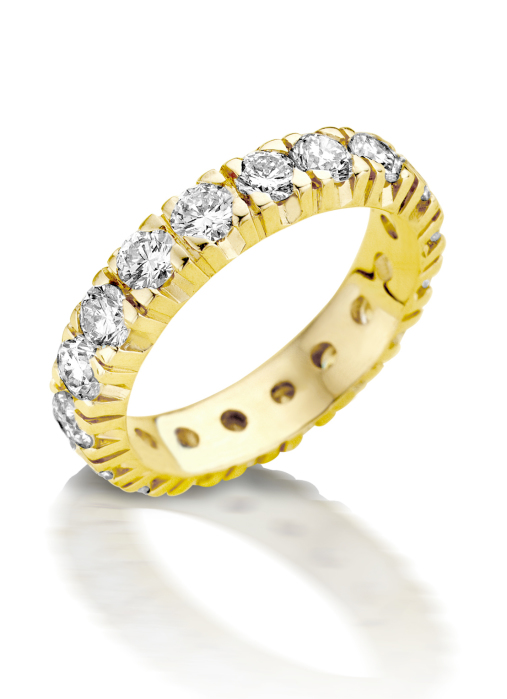 Diamond Point Geelgouden alliance groeibriljant ring, 1.40 ct. 1.40 ct diamant Groeibriljant