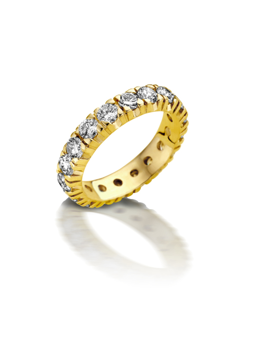 Diamond Point Groeibriljant eternity ring in 18 karat yellow gold, 1.47 ct.