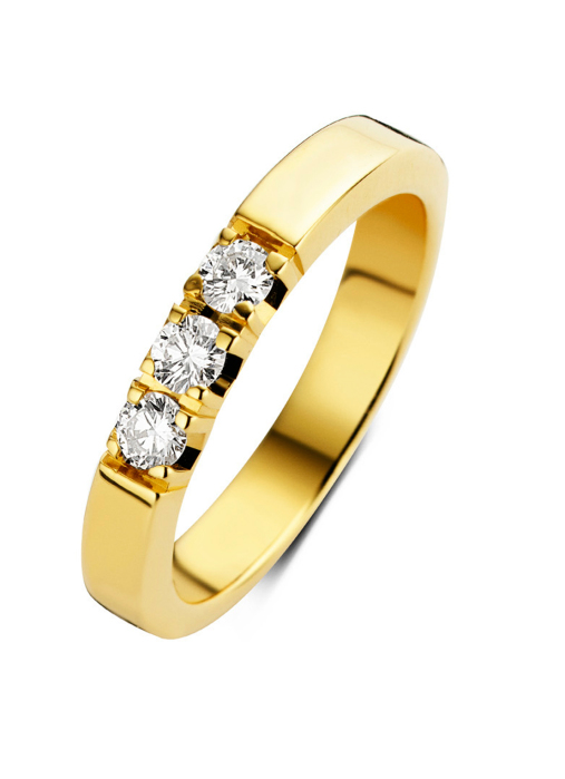 Diamond Point Groeibriljant Memoire Ring in 18K Gelbgold, 0.48 ct.