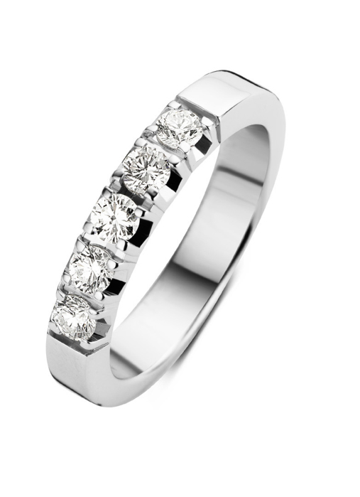 Diamond Point Witgouden alliance groeibriljant ring, 0.65 ct. 0.65 ct diamant Groeibriljant