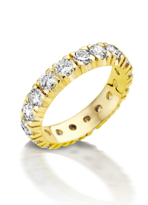 Diamond Point Groeibriljant eternity ring in 18 karat yellow gold, 1.76 ct.
