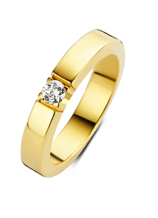 Diamond Point Groeibriljant eternity ring in 18 karat yellow gold, 0.16 ct.