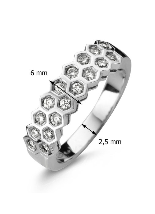 Diamond Point Witgouden ring, 0.39 ct diamant, Caviar