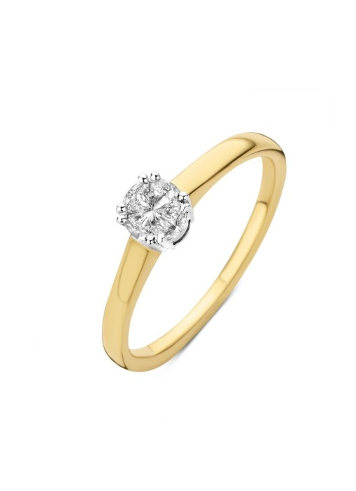 Diamond Point Fourever ring in 18 karat yellow and whitegold