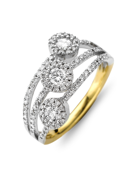 Diamond Point Caviar ring in 18 karaat bicolor
