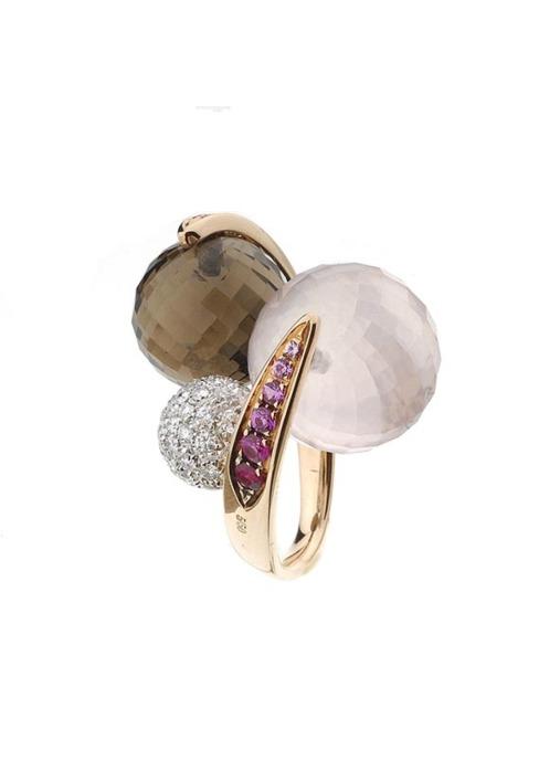 Diamond Point Roségouden ring 20.50 ct roze kwarts Colors