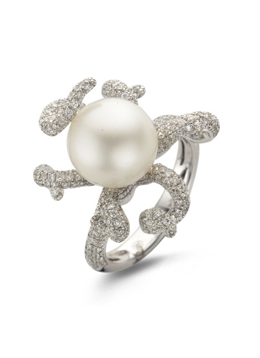 Diamond Point Parelring 1.09 ct diamant Pearls