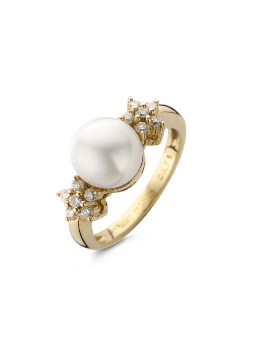 Diamond Point Parelring 0.21 ct diamant Pearls