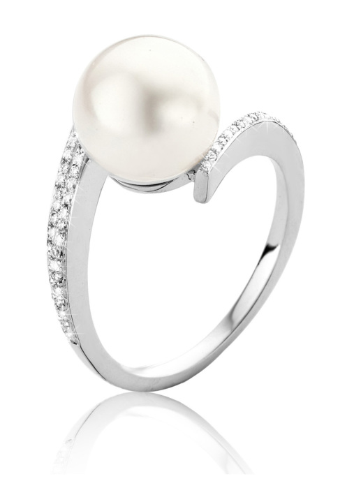 Diamond Point Parelring 0.12 ct diamant Pearls