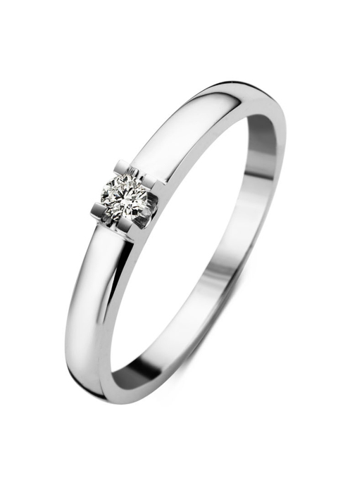 Diamond Point Witgouden solitair ring, 0.08 ct diamant, Groeibriljant