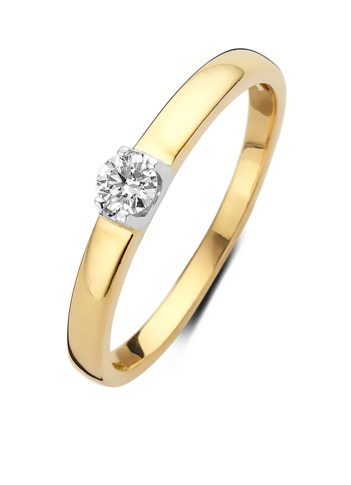 Diamond Point Geelgouden solitair ring, 0.11 ct diamant, Groeibriljant